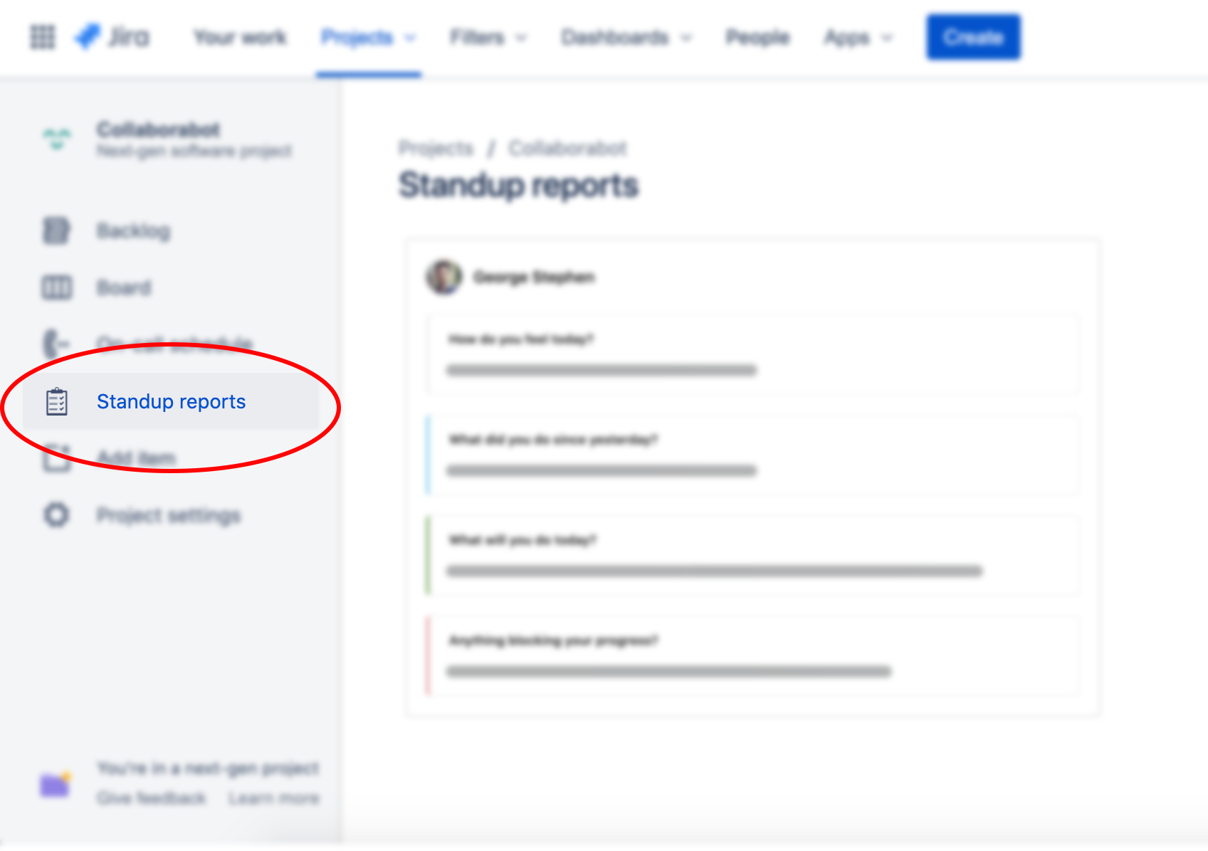 JIRA standup reports directly in your project